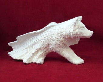 Ceramic Ready to Paint Large Driftwood Wolf -16 inches