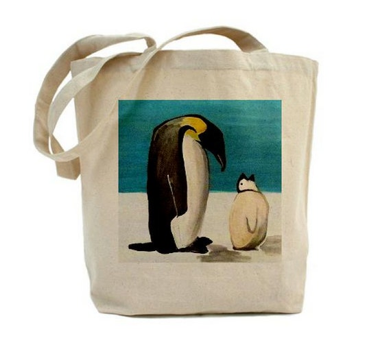 Penguin Book Cover Tote Bag : Art tote shopping book bag penguin love by groovygalstyle
