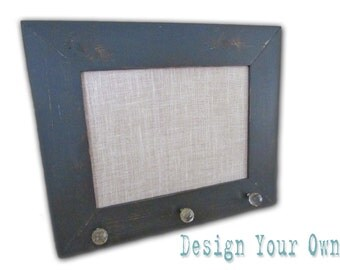 Medium Burlap Cork Board-Custom Framed Cork Board - Design Your Own Distressed Framed Message Board-Pin Board-Bulletin Board-18x22-Monogram