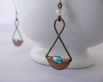 Copper wire earrings, Long copper earrings, Dangle earrings, Copper earrings, Blue earrings, Beaded earrings, Wire wrap earrings, Gift idea.