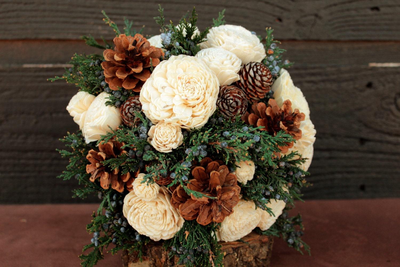 Rustic Winter Sola Flower Wedding Bouquet Winter Wedding