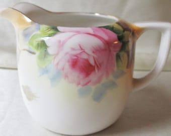 1930s Japanese Hand Decorated  Creamer, Rose Motif, Gold Trim. Housewarming Gift, Hostess Gift, Anniversary Gift, Christmas Gift