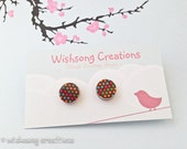 Wood Earring studs, chocolate and rainbow polka dots pattern, fashion jewellery, earring posts, surgical steel posts