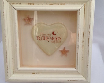"""Framed """"I love you to the moon and back"""" Glass Heart"""