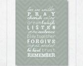 love one another . pray . cherish . enjoy . dream . laugh . Spirit of Love . chevron art print