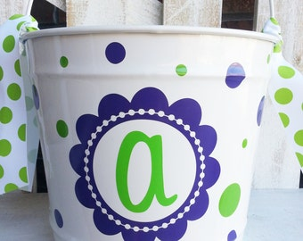 Personalized Monogram Intial 10qt Pail / Easter Bucket / Basket