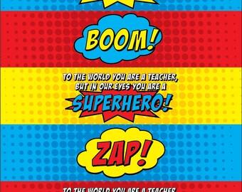 Superhero Teacher Water Bottle Labels • V3 • PC Color • INSTANT DOWNLOAD