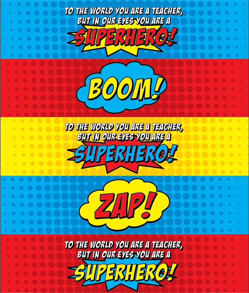 Superhero Teacher Water Bottle Labels V3 PC Color