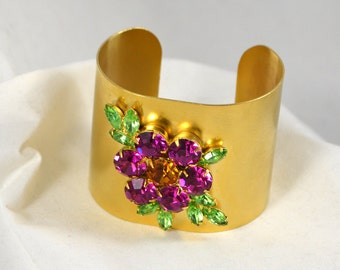 Vintage Costume Wide Cuff Gold Toned Bracelet with Purple and Green Rhinestone Flower