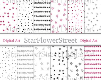 Winter Holiday Digital Paper Pattern confetti snowflake stars xmas christmas dot red gray grey silver black printable instant download