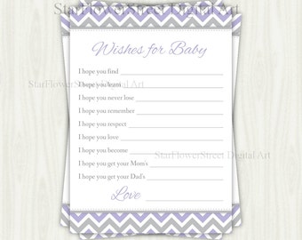 Wishes for Baby Girl chevron lavender purple grey gray cards printable digital instant download DIY shower decoration party well wish advice