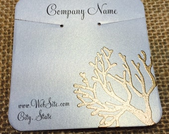 20 Elegant Coral Necklace Display Cards - Hand Stamped & Embossed Coral, Customize Any Embossing Color (Silver, Bronze, misc)