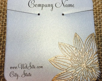 20 Flower Necklace Display Cards - Hand Stamped & Embossed Flower, Floral, Customize Any Embossing Color (Silver, Bronze, misc)