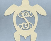 Unfinished Monogram Wooden Turtle Vine Monogram Door Wreath or Hanger! Adorable! Perfect for any lake or beach house!