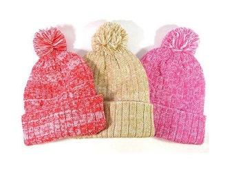 Custom Embroidery Knit Hat White & Soft Red Pink Khaki Pom Pom Beanie