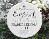 Our First Christmas Engaged Ornament - Personalized Wedding Ornament