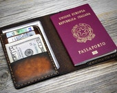 Leather Passport Cover. Handmade Italian Leather Passport Holder. Hand stitched, carefully constructed in Italy.