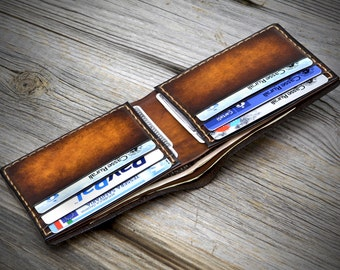 Slim Leather Wallet for Men. Thin Bifold Leather Wallet for Men. Real leather wallet. Mens leather wallet. Minimal wallet. Thin wallet.