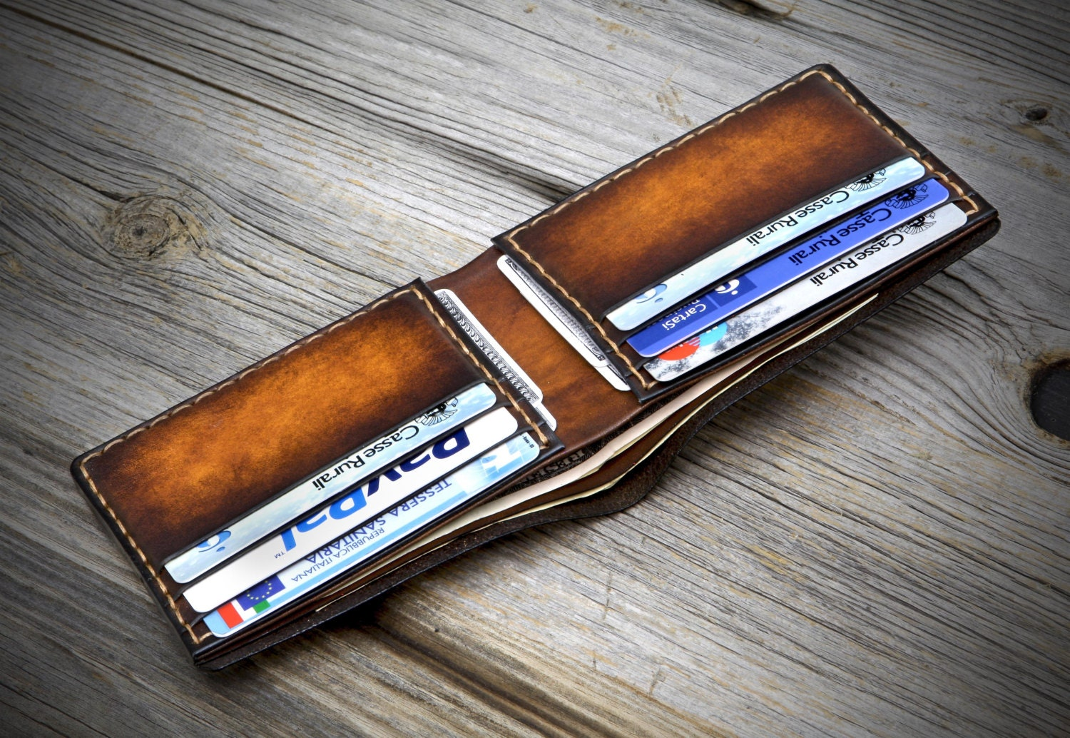 Slim Leather Wallet for Men. Thin Bifold Leather Wallet for