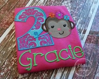 Girly Monkey Birthday Custom Embroidered Tee Shirt - Customizable -  Infant to Youth 80