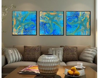 "Contemporary Triptych Abstract Canvas prints of my original Resin Art  ""Celebrate"" 16 x 16 each Limited Edition"