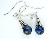 Blue Tiger Eye Dangle Earrings, Silver Plated Wire, Petal Beads, French Hook Ear Wires, Handmade, Elegant Gift, Delicate, Cornflower Blue