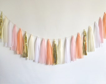 FREE SHIPPING Blush tassel garland peach pink gold