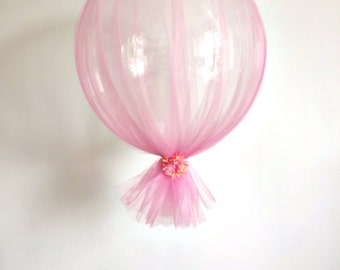 FREE SHIPPING Pink tulle peach flower wedding clear balloon