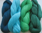 Linen Yarn Azure Blue Salad Green 400 gr (14 oz ), Cobweb / 1 ply, each hank contains approximately 3000 yds