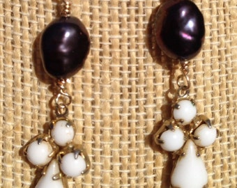 PRICED TO SELL Gold Filled Cross Milk Glass and Deep Purple Pearl Dangle Earrings Etsy andersonhs
