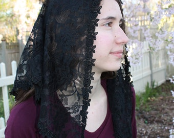 Chapel Veil / Black Floral Lace Mantilla / Triangle Church Veil / Catholic Lace Headcovering / The Maura Veil.