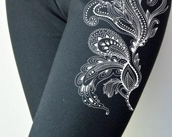 paisley print handmade Leggings xs - 3xl size - (32)
