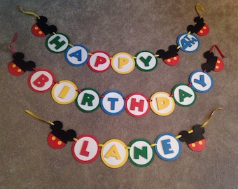 Mickey mouse birthday banner with name