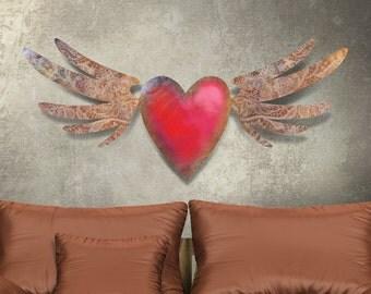 Metal Wall Art 3D Dimensional Flying Heart Tattoo Sculpture