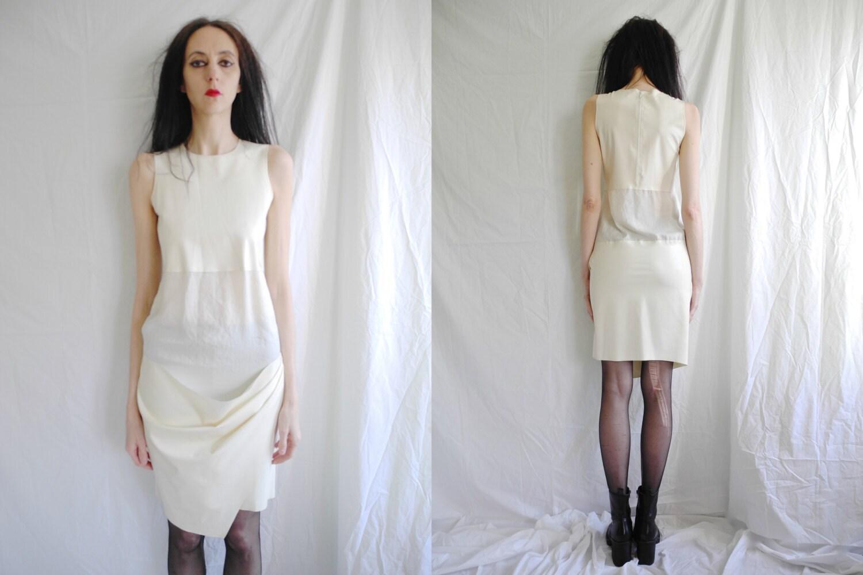 White rubber apron - 90 S Unique Rare Minimalist Fetish Latex Rubber With Transparent Contrast Cream Shift Dress