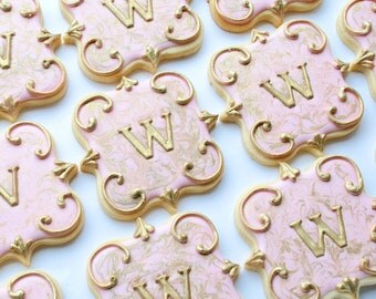 Elegant Pink & Gold Marbled Monogram Cookies - One Dozen Decorated Sugar Cookies