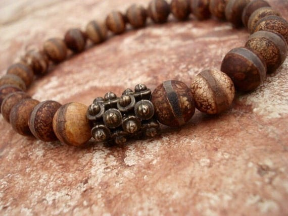 Mens Beaded Bracelet, Rustic Bracelet, Brown Bracelet, Gifts for Men, Stretch Bracelet, Gemstone Bracelet, Mens Jewelry, Bracelets for Women