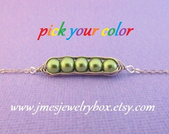 Five peas in a pod bracelet - Choose your color! Made to order
