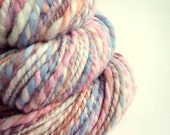 Chunky handspun merino yarn, bulky / chunky yarn knitting yarn / wool, pastel pink, blue peach and ivory color