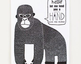 helpful gorilla - black and white kitchen drying up tea towel