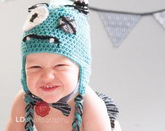 Crochet baby/toddler/kids blue monster hat
