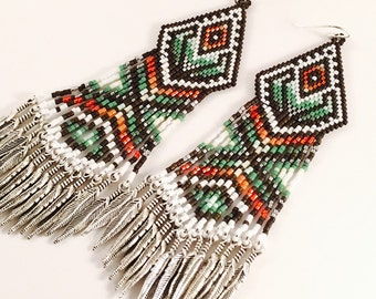 Green Goddess Seed Beaded Earrings, Boho Feather Fringe