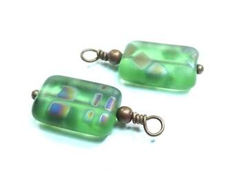 Green Matte Peacock Drop Bead Charms, Hand Wired Czech Glass (Set of 2)