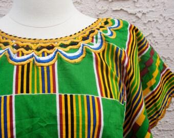 SALE Vintage Colorful Cotton Poncho