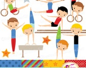 Little Boy Gymnasts Clip Art Set Cliparts Boy Red blue green dress rhythmic gymnastic ring acrobatic Sport elements Digital Papers pf00064-2