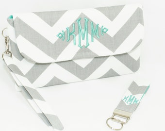 Monogrammed Chevron Wristlet and Key Fob in Choice of Colors