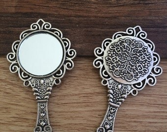 5pieces 66x35mm mirror Charms -  antique silver charm pendant  Jewelry Findings