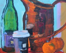 Still Life Painting, original art, Copper, Clementines, Wine and Take Out Coffee Container 9x12 acrylic