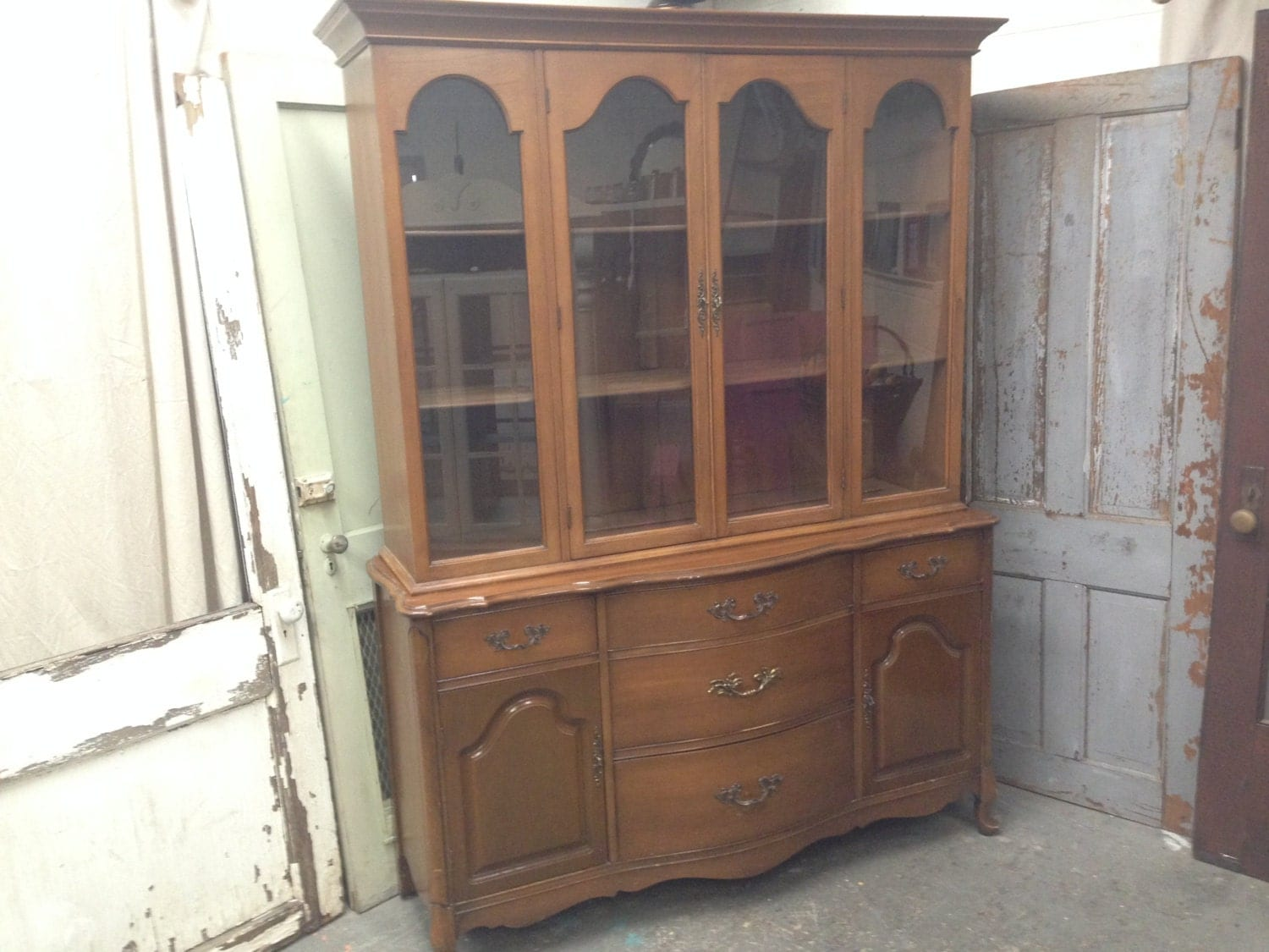 provincial china cabinet dining room by vintagehipdecor