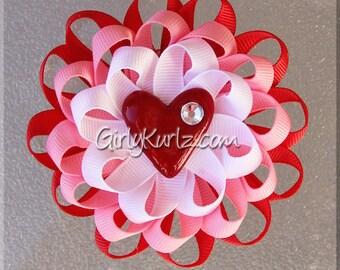 Valentine's Heart Hair Bow, Valentine Loopy Flower, Valentine Hair Bow, Pink Red White, Flower Hair Bow